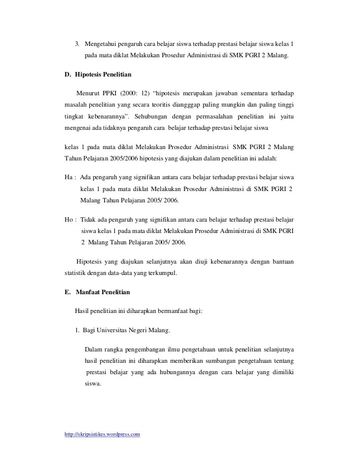 Contoh Hipotesis Dalam Skripsi Kuantitatif