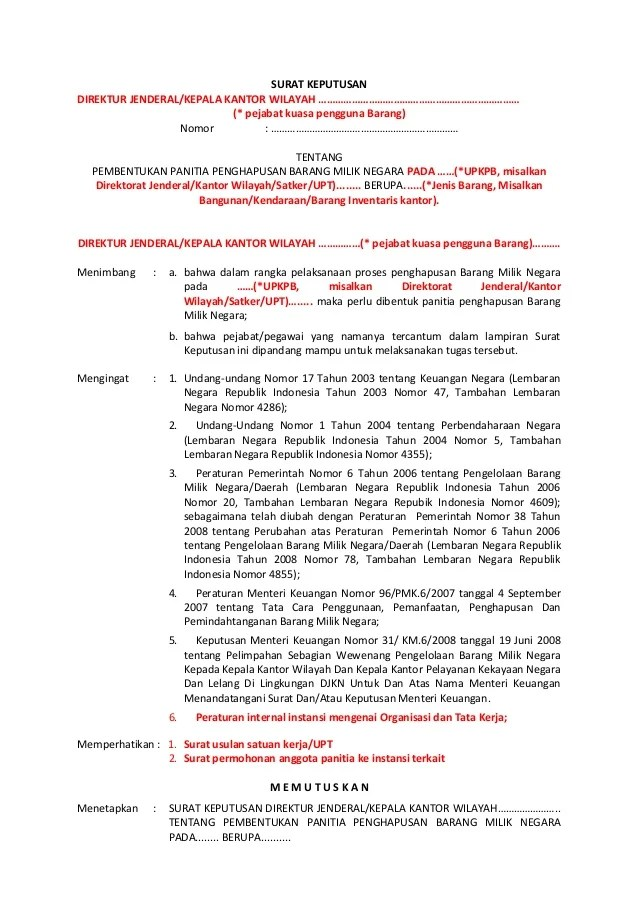 Contoh Surat Permohonan Penghapusan Barang Inventaris