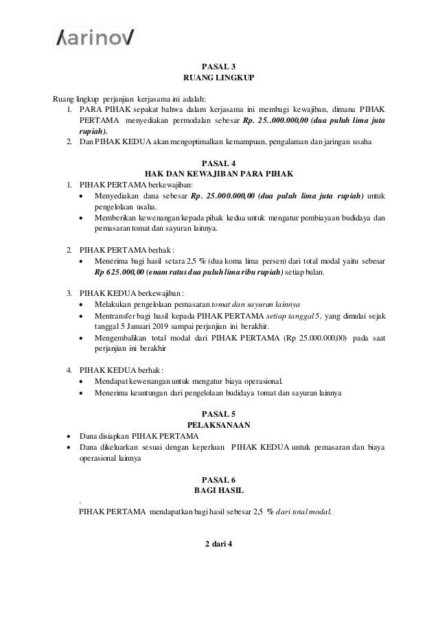 Contoh Surat Perjanjian Kerjasama Supplier Sayuran Cute766