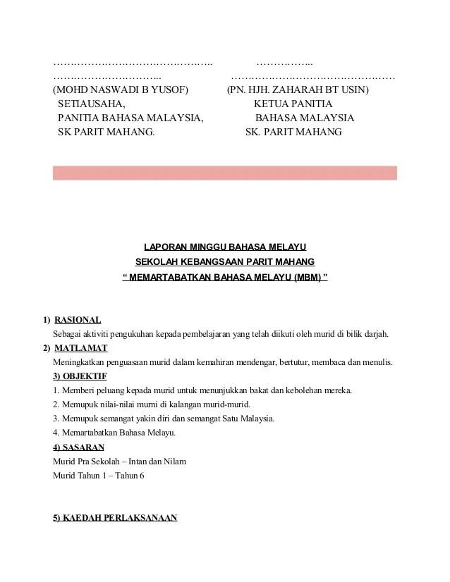 Contoh Karangan Laporan Minggu Bahasa Melayu Spm Aa Contoh Cute766