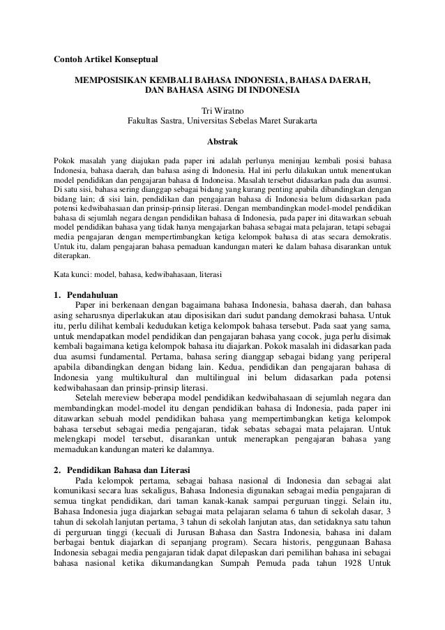 Contoh Artikel Ilmiah Bahasa Indonesia Cute766