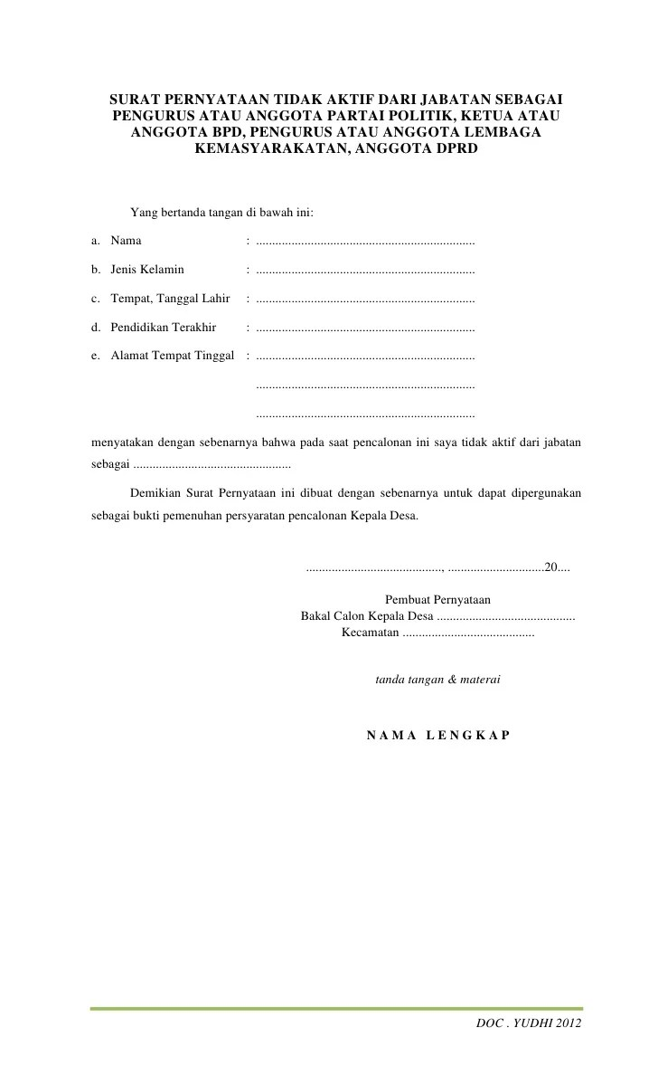 Contoh Surat Pengunduran Diri Anggota Bpd Desa Fragrance Cuitan
