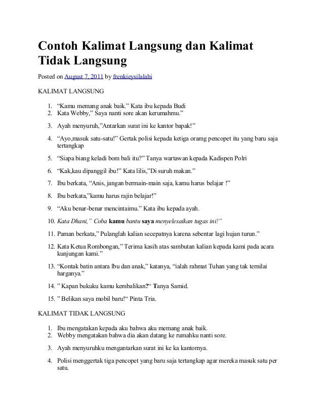 Contoh Kalimat As : contoh, kalimat, Contoh, Kalimat, Langsung, Tidak