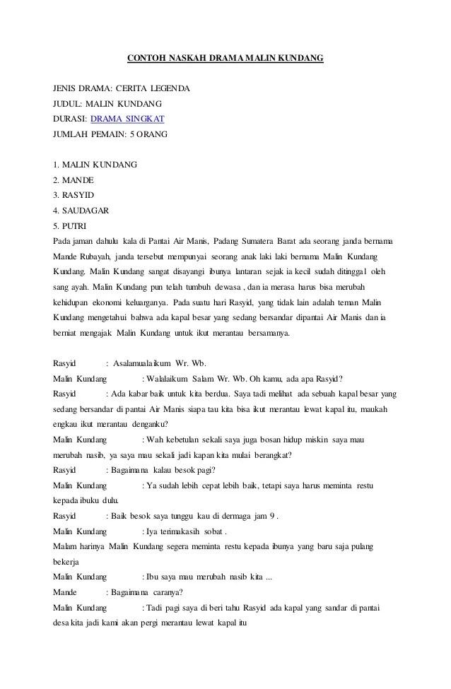 Naskah Drama Malin Kundang : naskah, drama, malin, kundang, Contoh, Naskah, Drama, Malin, Kundang