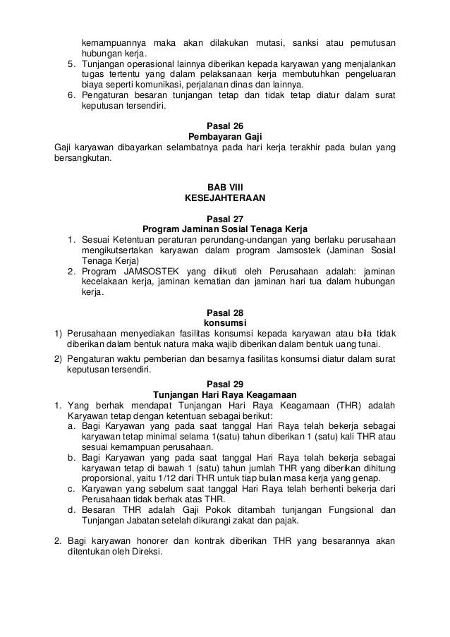 Contoh Peraturan Perusahaan Bucah