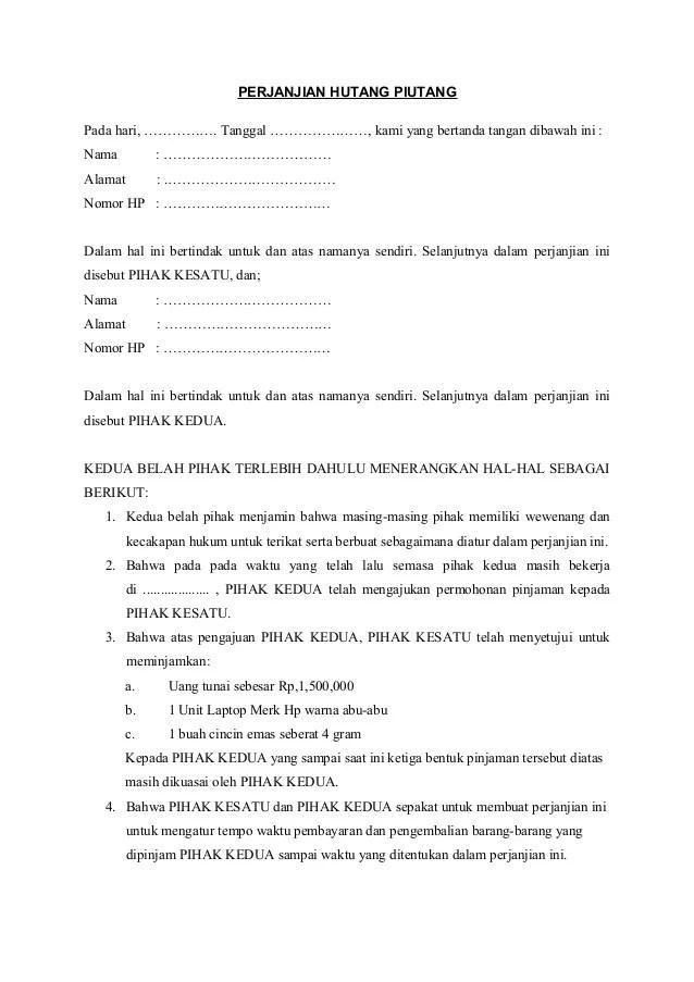 Surat Perjanjian Kredit Hp : surat, perjanjian, kredit, Surat, Perjanjian, Hutang, Piutang, Cute766