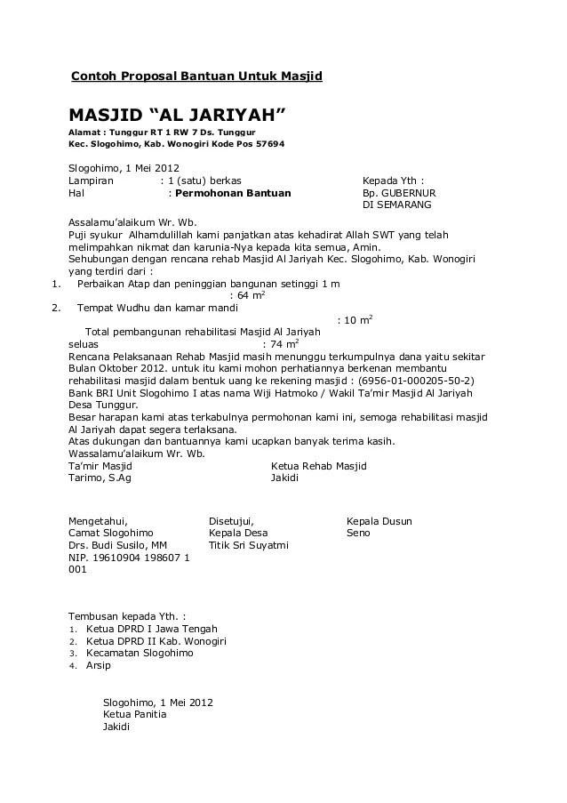 Contoh Proposal Pembangunan Masjid Permohonan Dana Cute766