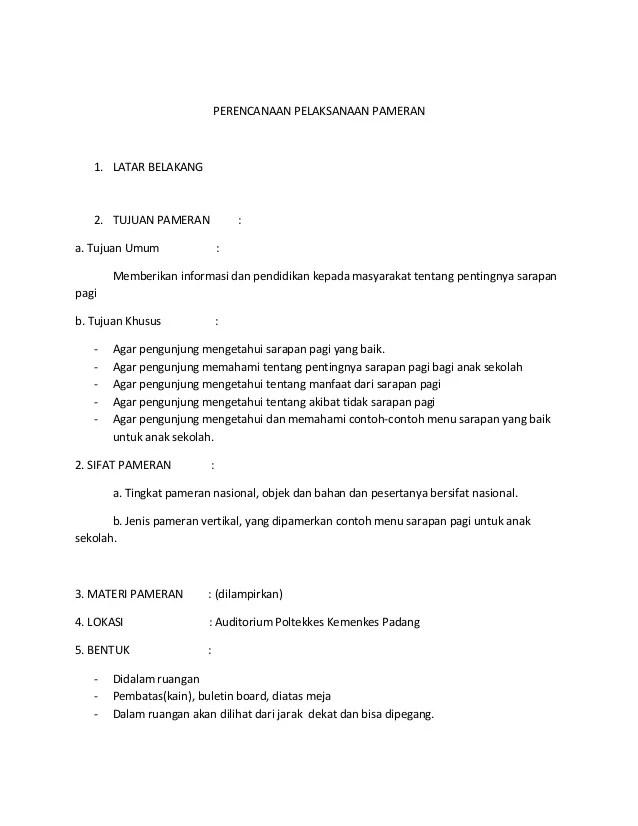 Tujuan Pameran Sekolah : tujuan, pameran, sekolah, Contoh, Proposal, Pameran