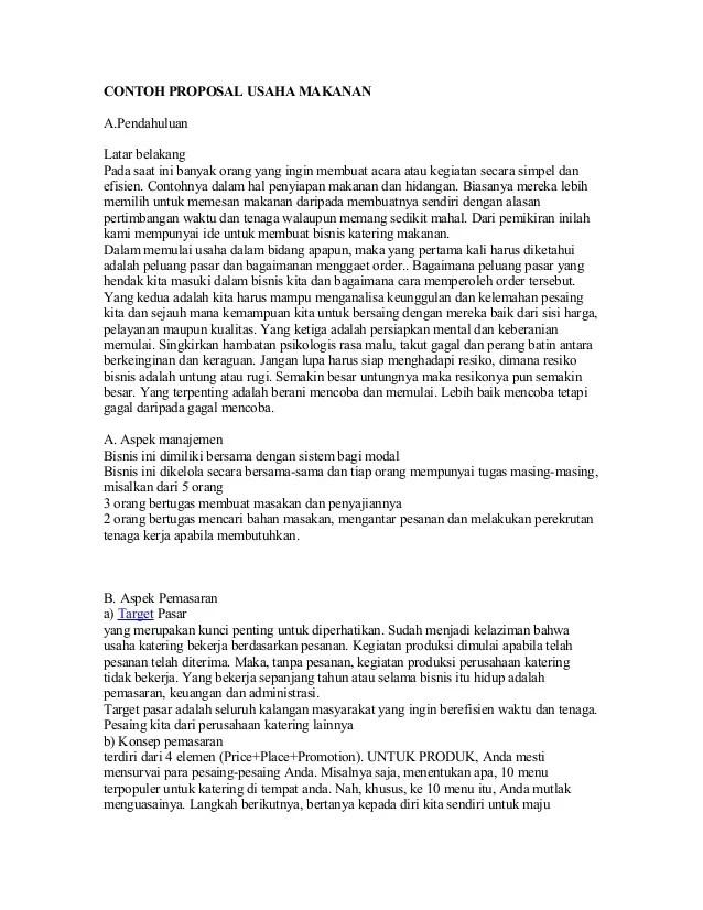 Contoh Proposal Usaha Makanan Tradisional Serabi Berbagi Contoh Proposal Cute766