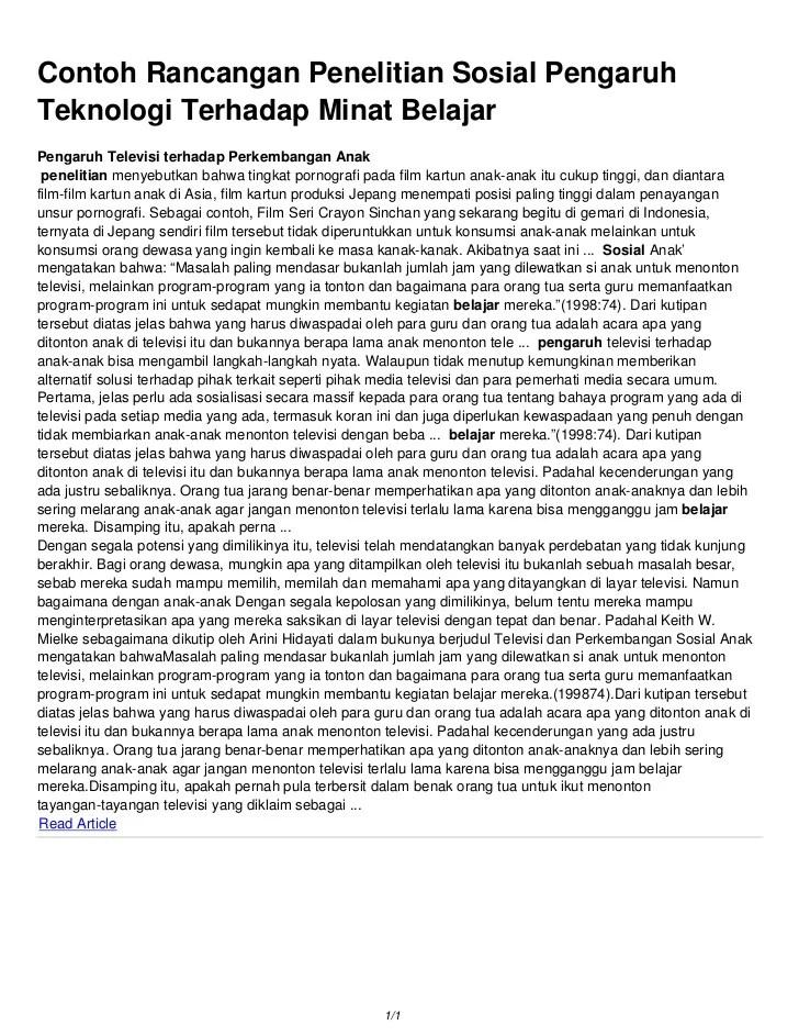 Penelitian Sosial Sosiologi : penelitian, sosial, sosiologi, Contoh, Rancangan, Penelitian, Sosial, Pengaruh, Teknologi, Terhadap, Minat