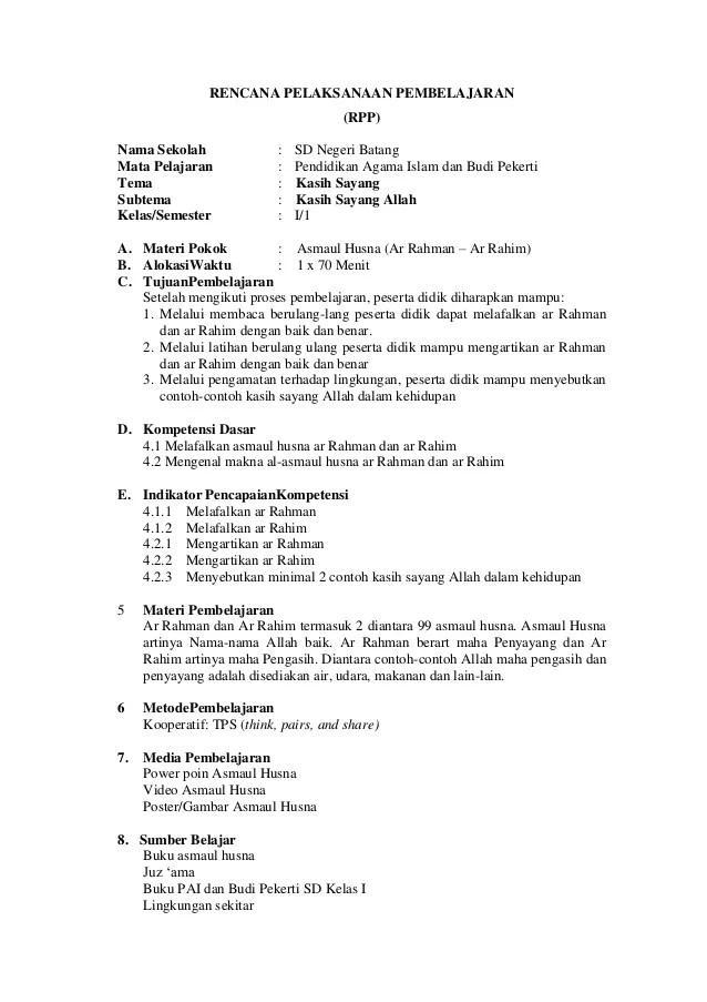 Rpp Kelas 1 K13 : kelas, Contoh, Revisi, Sekolah