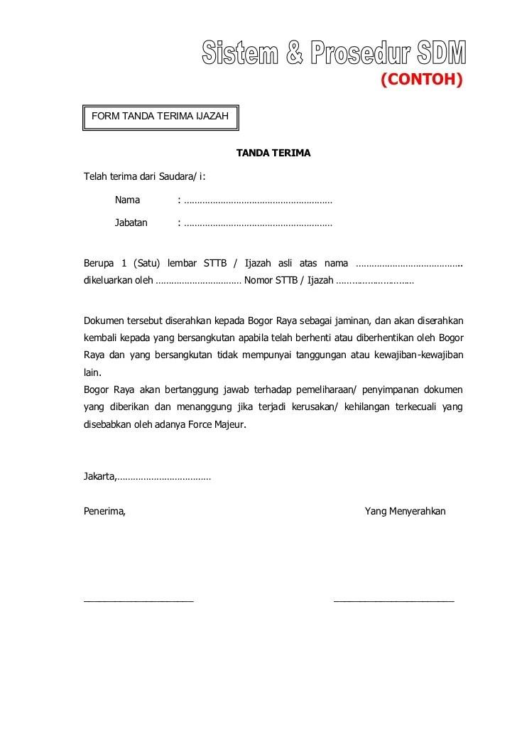 Surat Tanda Terima : surat, tanda, terima, Contoh, Surat, Tanda, Terima, Ijazah, Perusahaan