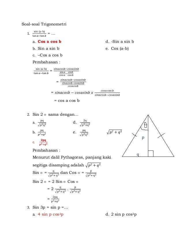 Soal Trigonometri Kelas 10 Doc : trigonometri, kelas, Contoh, Trigonometri, Pembahasannya