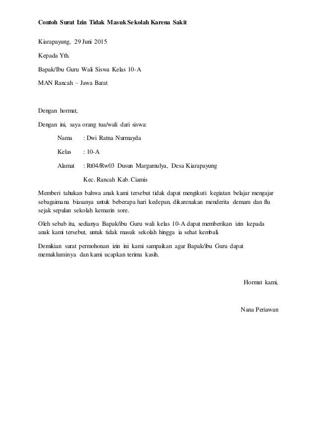Contoh Surat Izin Sekolah Orang Tua Tidak Masuk Sekolah Kerja Cute766