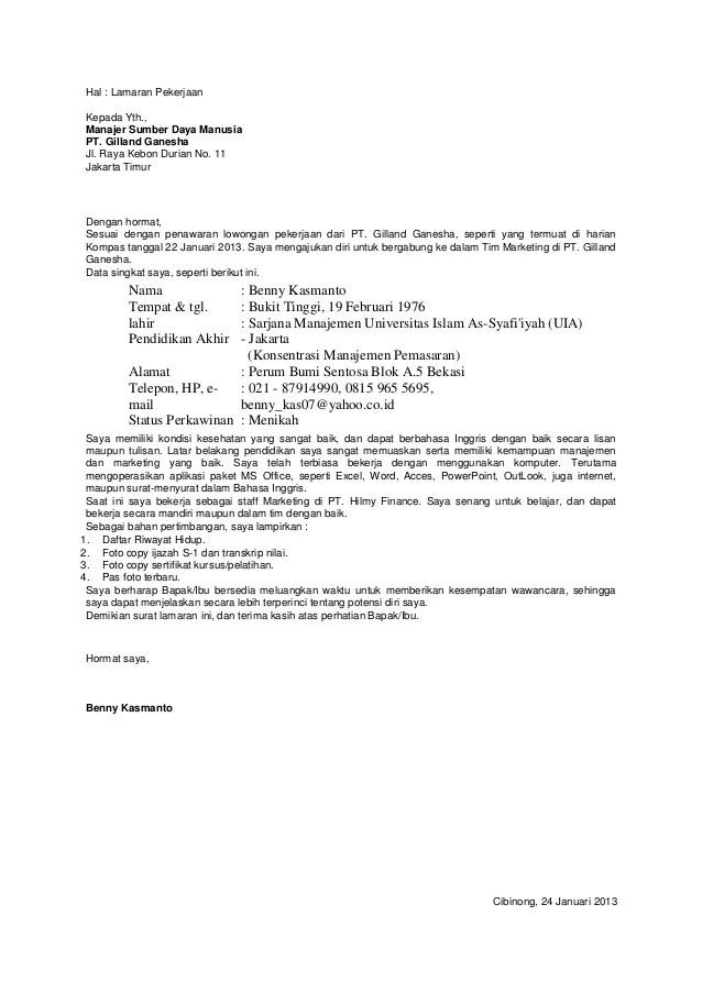 Contoh Surat Lamaran Pekerjaan Marketing Manager Kumpulan Contoh Gambar