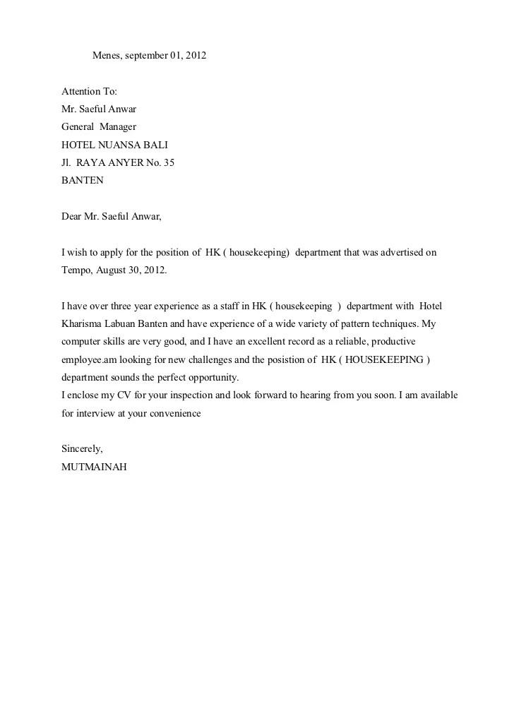 Contoh Surat Lamaran Kerja Di Hotel Bagian Housekeeping Bahasa Inggris
