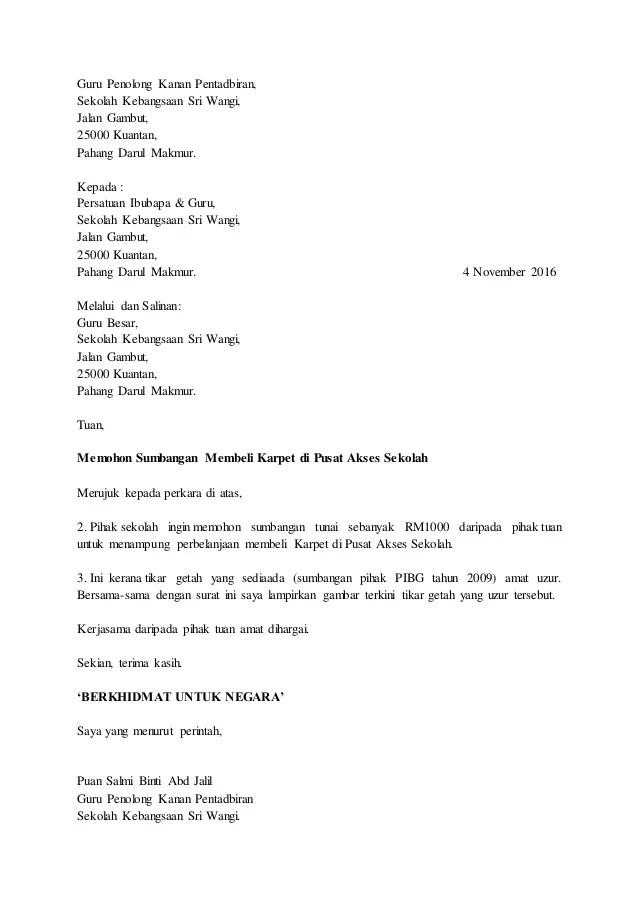 Contoh Surat Mohon Sumbangan Barang