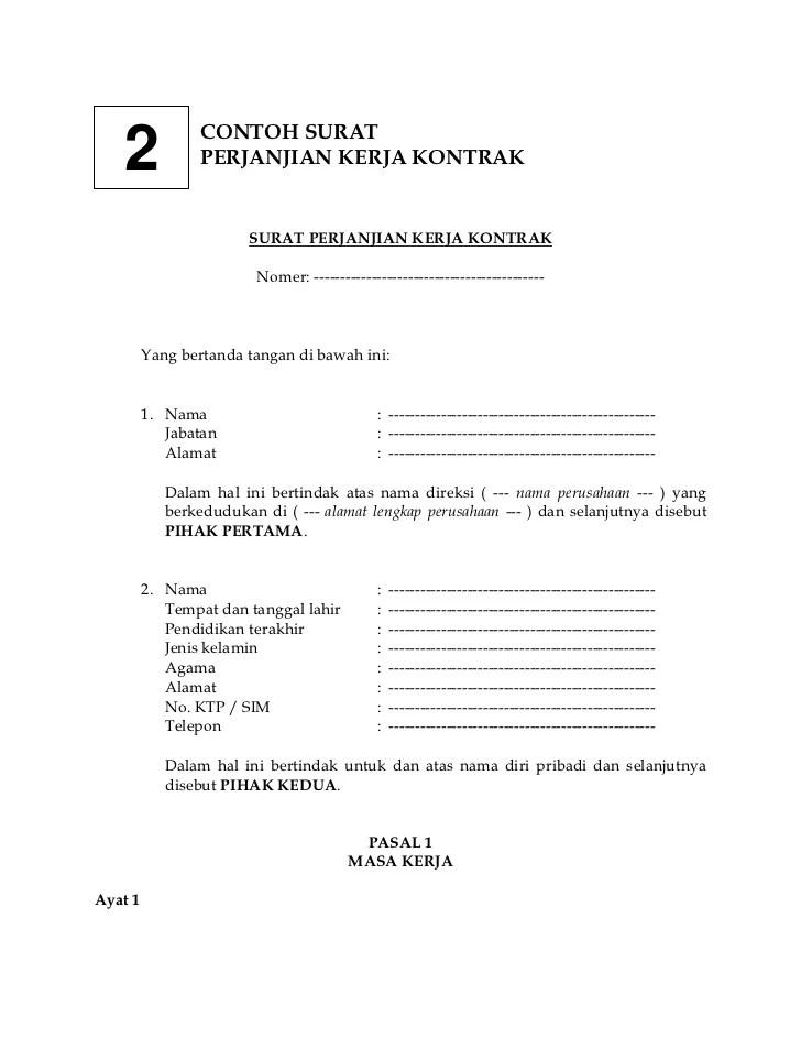 Contoh Surat Kontrak Kerja Karyawan : contoh, surat, kontrak, kerja, karyawan, Contoh, Surat, Perjanjian, Kerja, Kontrak