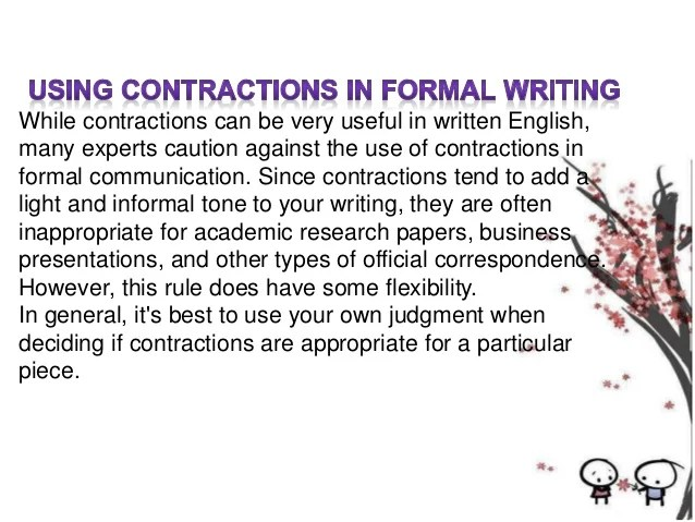 Contraction In Writing