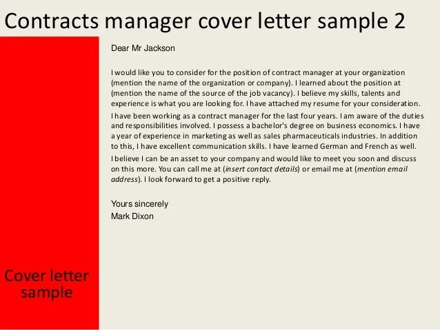 Cover Letter Sample Contracts Administrator | Resume ...