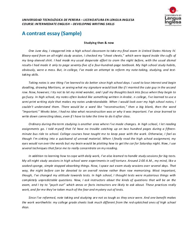 samples of comparison and contrast essays