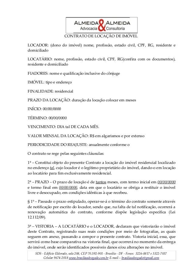 Contrato De Aluguel Residencial Simples Para Imprimir
