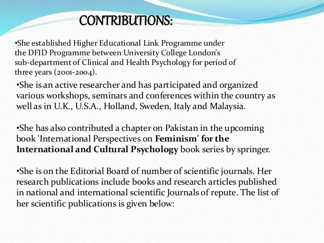 Contribution of pakistani psychologists
