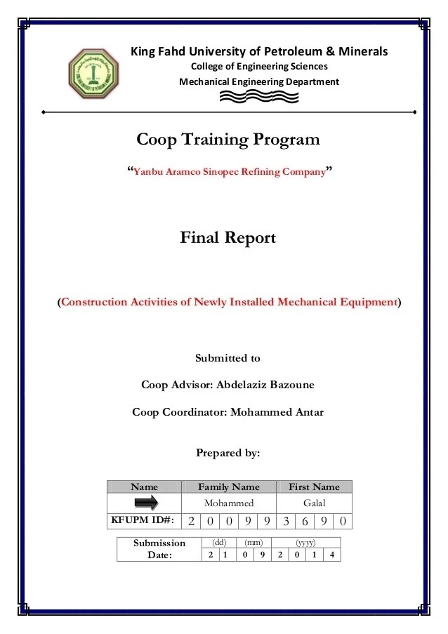 example of production report