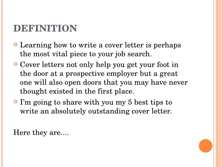 examples of cover letters