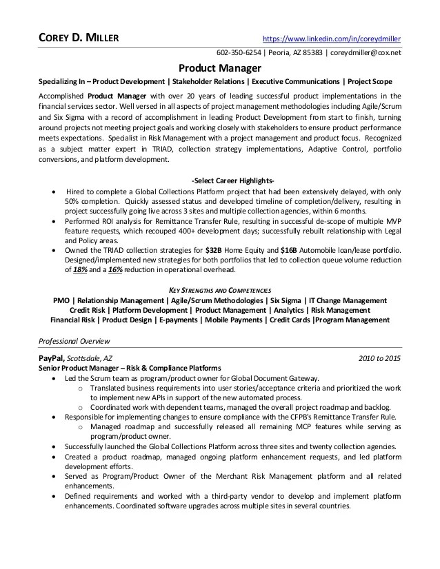 sample facebook product manager resume