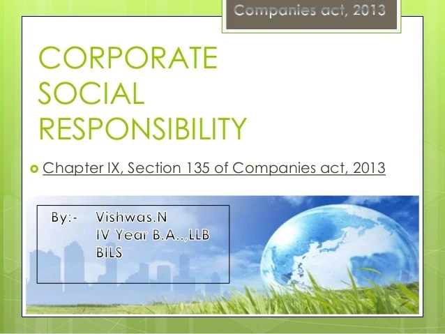 Corporate social responsibility in Companies ACT 2013