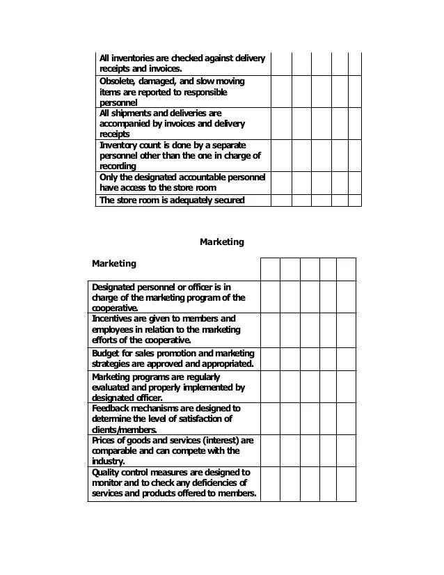 Internal Control Checklist For Multi Purpose Cooperative