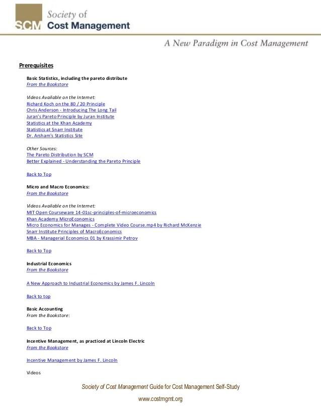 Cost management program of self study v2