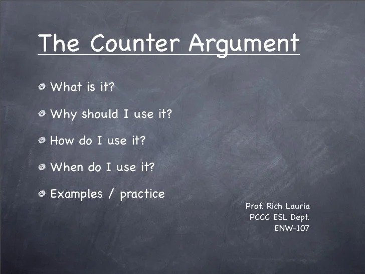 Counter Argument Presentation