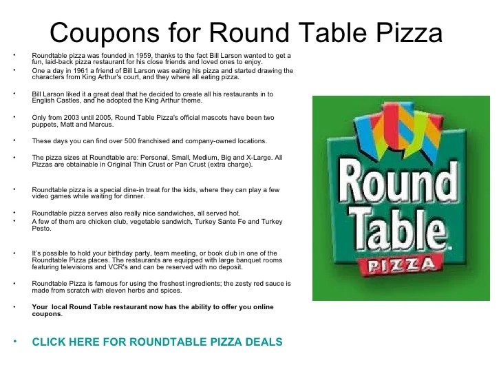 picture relating to Round Table Printable Coupons referred to as Roundtable discount coupons codes - Real Discount coupons