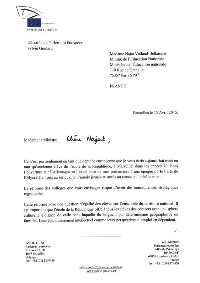 lettre en francais exemple