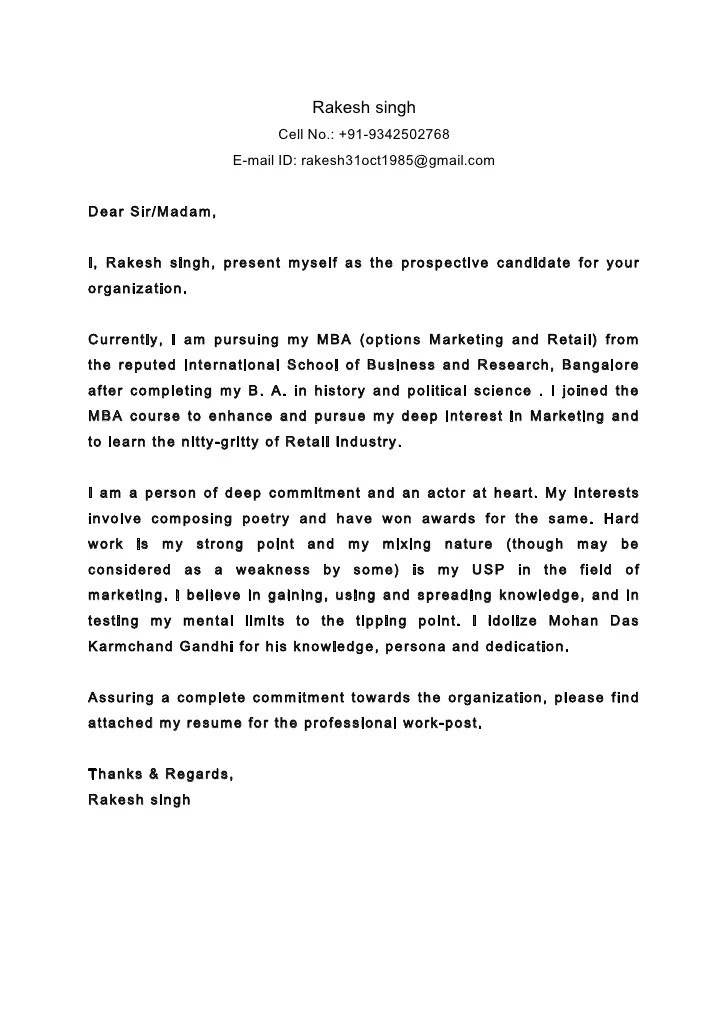cover letter sir madam