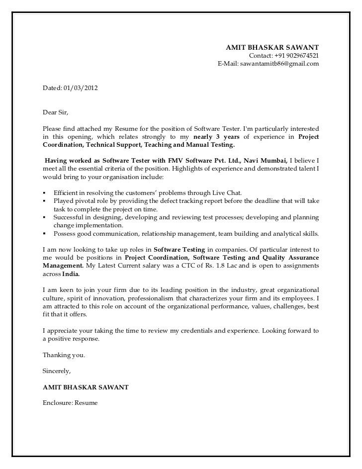 Cover Letter For Testing Resume