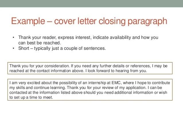 last sentence in cover letter