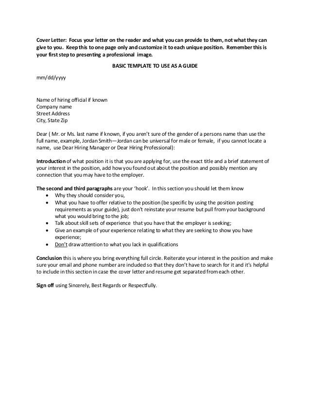 Cover letter first name
