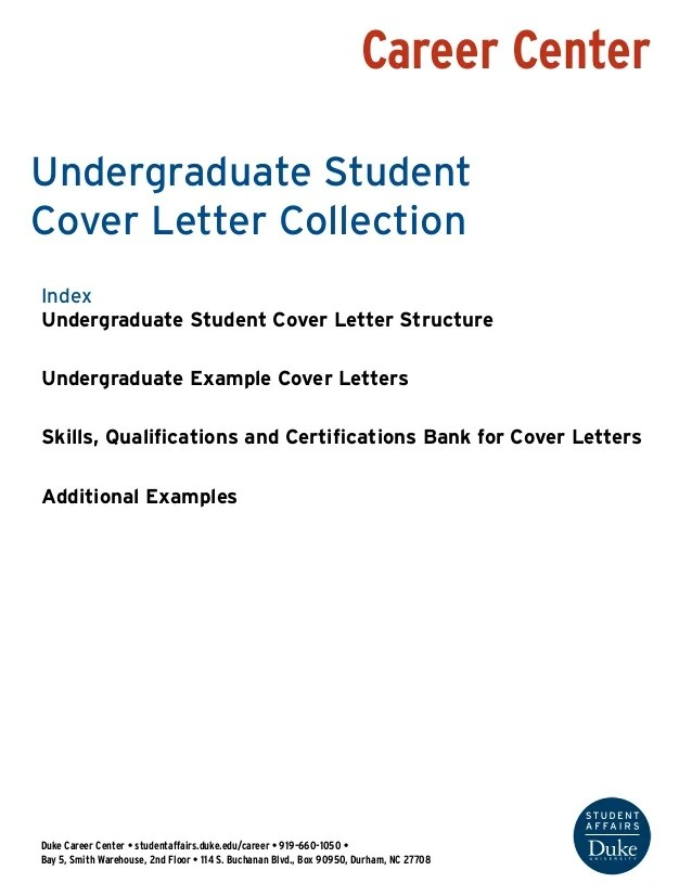 Undergraduate Student Cover Letter Collection