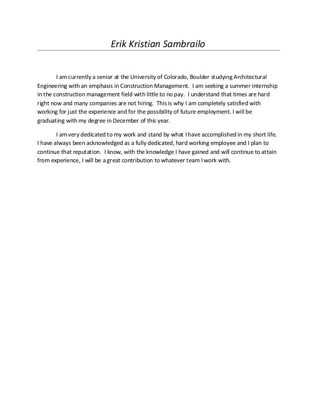 Cover Letter Construction Management