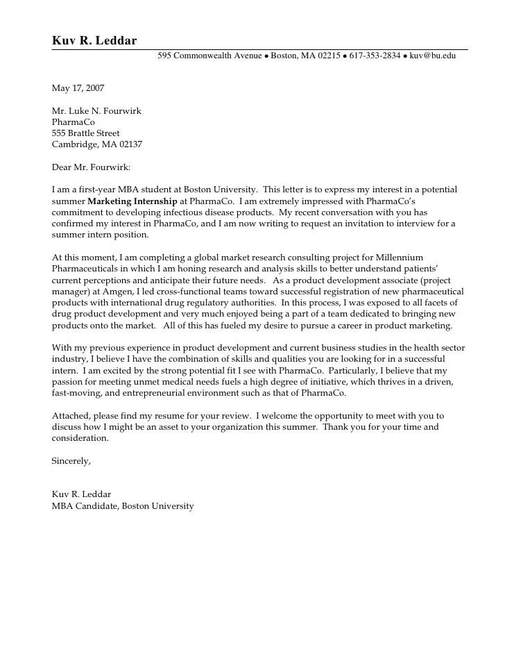 Cover Letter For Resume Internship