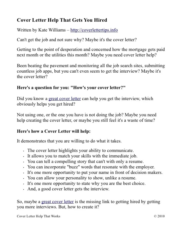 Cover Letter Help That Gets You Hired