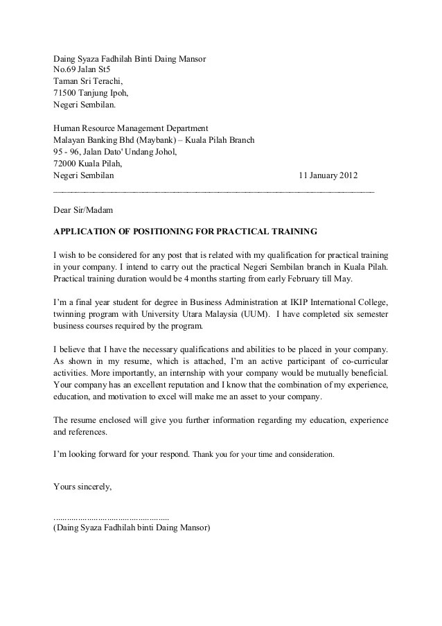 Cover letter maybank