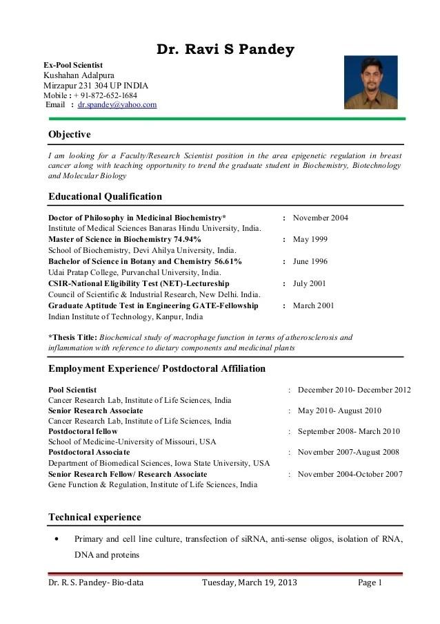Dr Ravi S PandeyResume for Assistant Professor Research Scientist
