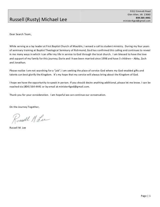 Cover letter  resume from rusty lee