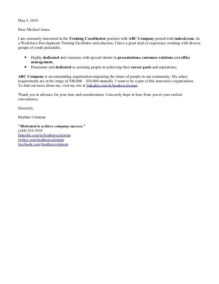 Cover letter workforce management