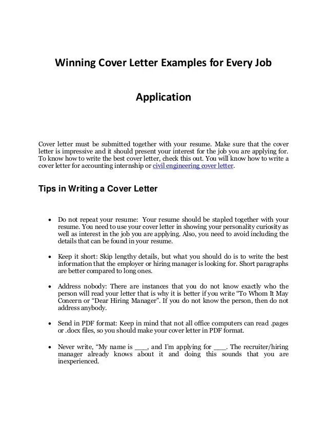 example of resume cover letter for job examples of resumes