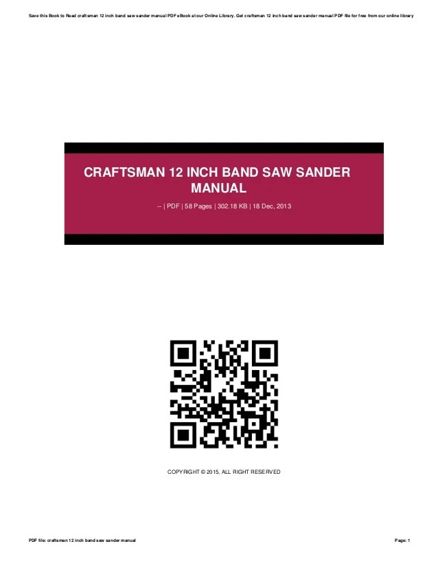 Craftsman 12 Inch Band Saw Sander Manual